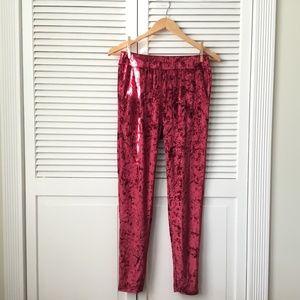 Pants - Crushed Velvet Red Joggers NWOT
